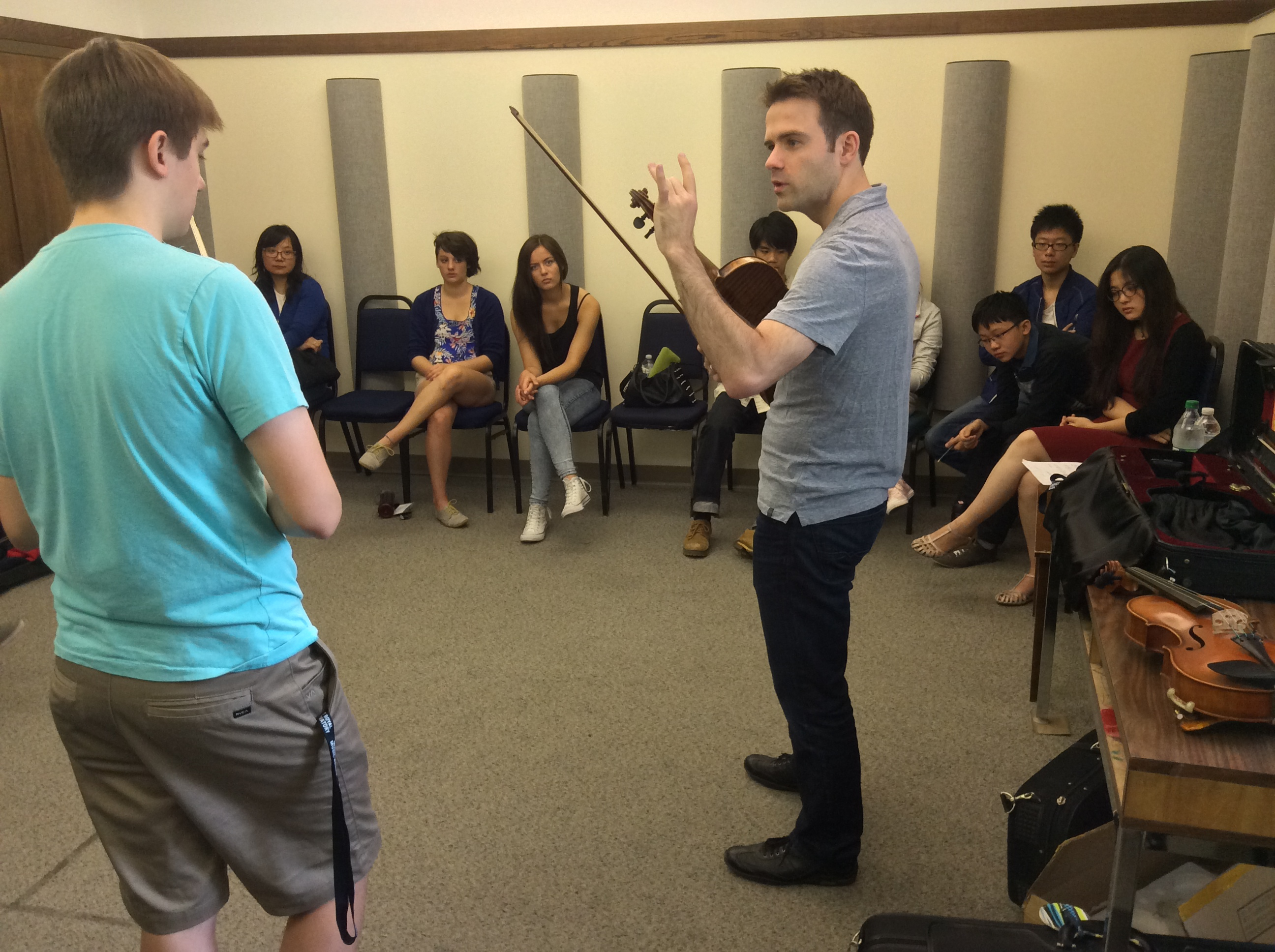 New Orford Sting Quartet violist Eric Nowlin teaching master classes at Morningside Music Bridge.